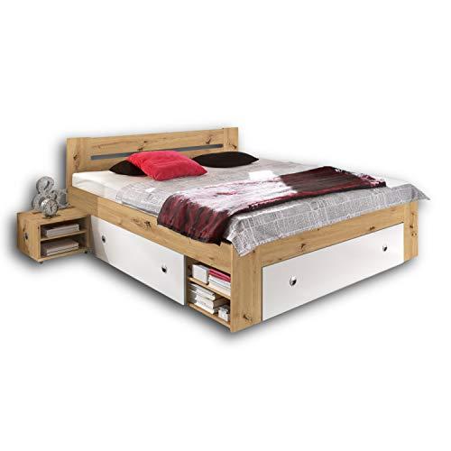 Stella Trading STEFAN Doppelbett Bettanlage 140 x 200 cm mit 2x Nachtkommoden - Schlafzimmer Komplett-Set in Artisan Eiche Optik, weiß - 145 x 86 x 204 cm (B/H/T)