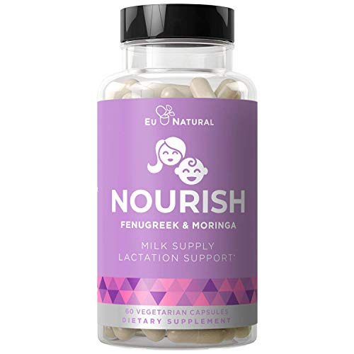 Nourish Lactation Support Postnatal Vitamins – Nutritious Milk Supply, Colic Gas Relief, Let Down Pills – Fenugreek, Moringa, Goat's Rue – 60 Mini Vegetarian Soft Capsules