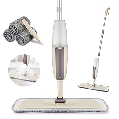 HOMTOYOU Spray Mop Upgrade for Floor Cleaning - Floor Mop with a Refillable Spray Bottle and 3 Washable Pads, Flat Mop for Home Kitchen Hardwood Laminate Wood Ceramic Tiles Floor Cleaning