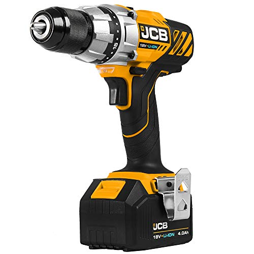 JCB 18V Cordless Drill Driver Power Tool Set - with 4.0Ah Battery and Fast Charger - Built in LED Work Light, Belt Clip - Precision Electric Screwdriver and for Drilling, Home Improvements, DIY