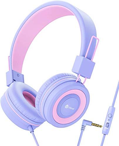 iClever Kopfhörer Kinder, Verstellbares Stirnband, Stereo Sound, Faltbare, entwirrte Drähte, 3,5 mm Aux Jack, 85dB Volume Limited, KinderKopfhörer auf Ohr
