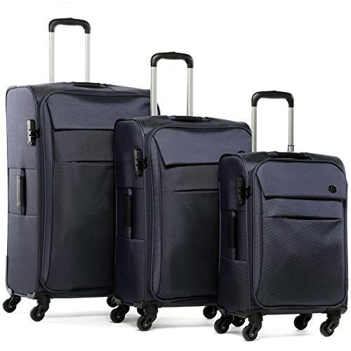 FERGÉ Kofferset 3-teilig Weichschale Calais Trolley-Set - Handgepäck 55 cm, L und XL 3er Set Stoffkoffer Roll-Koffer 4 Rollen Stretch-Flex blau