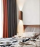 Phube 12W LED Wall Light Aluminum Bedroom Wall Lamp Minimalist Up Down Wall Sconce(Bronze)