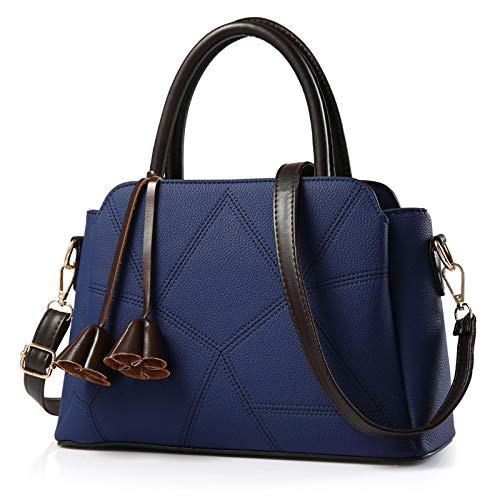 fdhdfh Tendencia Casual Diseño de Lujo Bolsos de Mujer de Gran Capacidad Bolsos de Hombro de Mensajero PU para Mujer 30X13X24Cm Azul Oscuro