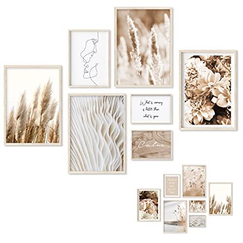Gloria Therese - Beidseitiges Premium Bilder Set - OHNE Rahmen - 7 Poster - Home Deko für Schlafzimmer und Wohnzimmer - Pampasgras, Boho, Beige, Natur - Wandbilder (4xA4 / 1xA5 / 2xA6)