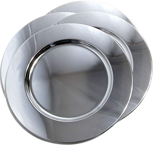 Maro Megastore (Pack of 4) 12.2-Inch Round Shape Plain Design Chrome Plated Serving Plate Mirror Deco Silver Metal Tray Platter Tableware Wedding Birthday Party Buffet Food Serving (Large) T234l-4pk