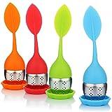 com-four® 4x Tee-Ei aus rostfreiem Edelstahl und Silikon - Teesieb mit Deckel und Untersetzer - Teefilter für Teeliebhaber - spülmaschinengeeignet (004 Stück - Blatt1 grün/orange/blau/rot)