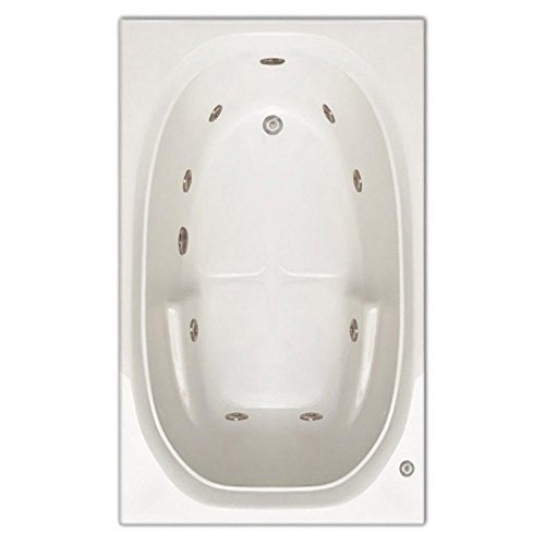 Signature Bath LPI221-W-RD Drop-In Whirlpool Bathtub with Stainless Jets - Right Drain, White