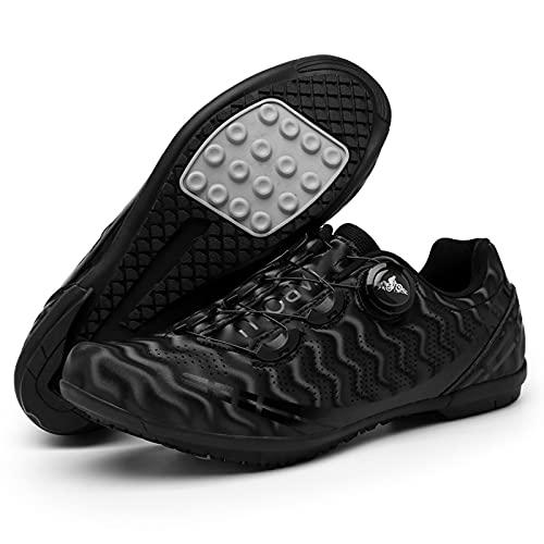 DSMGLSBB Zapatillas De Ciclismo, MTB Antideslizante Zapatillas De Ciclismo, Montar A Caballo Zapatos Peloton Giratorios Adecuado para Interior Competiciones De Ciclismo,Negro,42