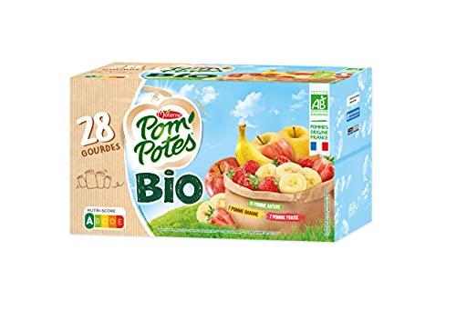 Pom'Potes Compote Gourde BIO Pomme/Pomme Fraise/Pomme Banane 28x90g