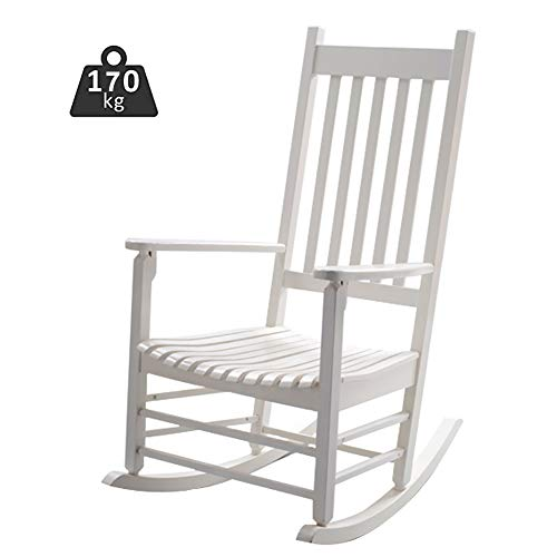 Rocking Chairs Adults/Kids White, Wooden Heavy Duty Relax Recliner Armchair for Indoor Outdoor Use, Max Load 170kg (Color : White)