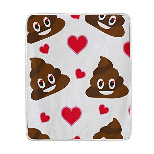 vinlin Cute Poop Emoji Muster Samt Plüsch Überwurf, gemütlich warm, leicht, Decken für Wohnzimmer Outdoor Reisen 127 x 152 cm