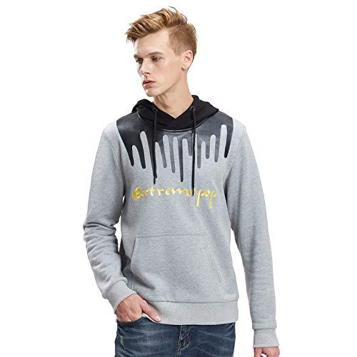 Extreme Pop Hombre Camo Hooded Sweatshirt Digital Imprimir Hood Jumper Military Hoodie Tops Reino Unido Stock (L, Gris 1)