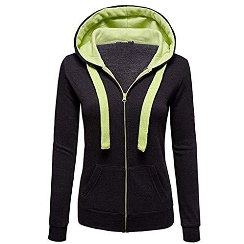 Kapuzenjacke Damen Baumwolle Mantel, Damen Sweatjacke mit Kapuze Herbst Winter Hoodie Oversize Sweatshirt mit Reißverschluss Kapuzenpullover Riou Günstig