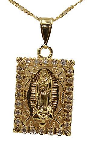 Diamantados of Florida Virgen de Guadalupe con Medalla de CZ; Medalla de Nuestra Señora de Guadalupe CZ; Collar Chapado en Oro de 18 Quilates