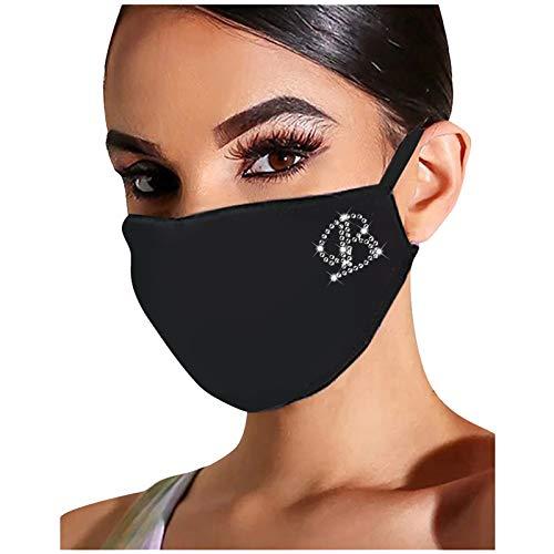 FengGa Damen Glänzend Strass Mund Nasenschutz Waschbar Mundschutz mit Motiv Baumwolle Glitzer Wiederverwendbar Atmungsaktiv Mund und Nasenschutz Stoff