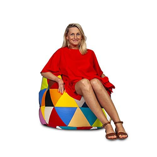 Ecopuf Poltrona Sacco Mix Ecopelle - Pouf Imbottito Patchwork Design a Triangoli in Pelle Sintetica
