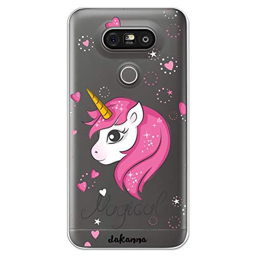 dakanna Funda Compatible con [LG G5 - G5 SE] de Silicona Flexible, Dibujo Diseño [Unicornio Mágico], Color [Fondo Transparente] Carcasa Case Cover de Gel TPU para Smartphone
