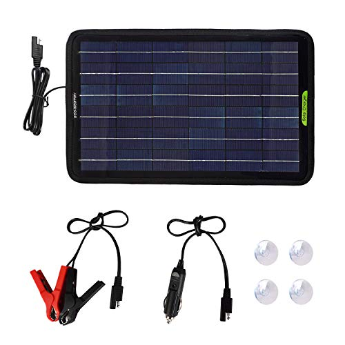 ECO-WORTHY 12 Voltios 10 Vatios Cargador Portátil de Batería de Panel Solar con Adaptador de clip de Cocodrilo Copia de Seguridad para Coche Barco RV