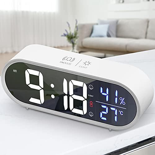 tronisky Digitaler Wecker, LED Tragbarer Spiegelwecker USB Wiederaufladbar Reisewecker mit Sprachsteuerung/Doppelwecker/Snooze/Temperatur und Luftfeuchtigkeit/40 Typen Klingeltöne, 5 Helligkeit, Weiß
