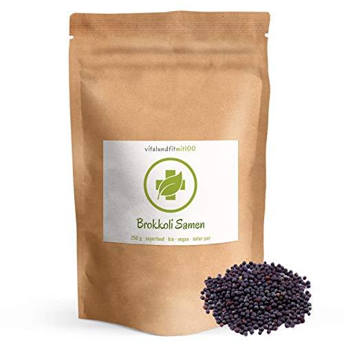 Bio Brokkolisamen - 250 g - Superfood - in bewährter Rohkostqualität - 100% vegan & rein - besonders geeignet für Vegetarier, Veganer und Rohköstler - OHNE Hilfs- u. Zusatzstoffe