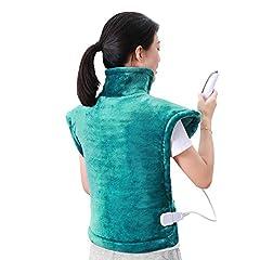 60 x 85 cm Coussin chauffant pour dos épaule cou éteignable Coussins thermiques automatiques et technologie de chauffage rapide pour soulager le dos et les épaules Couverture chauffante en vert marin agréable