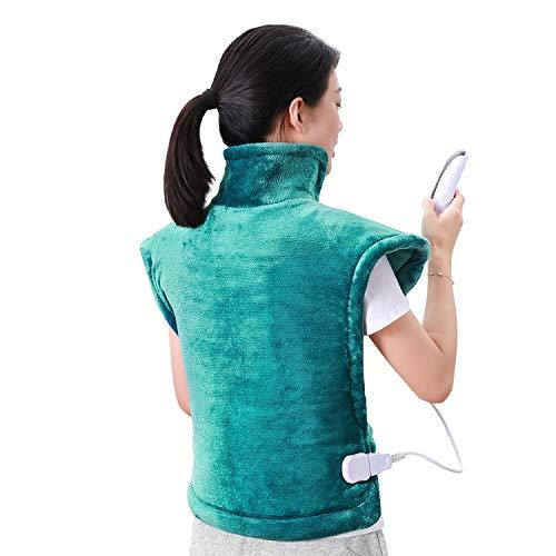60 x 85 cm Heizkissen für Rücken Schulter Nacken Abschaltautomatik Wärmekissen und Schneller Heiztechnologie für Entlastung von Rücken und Schultern Heizdecke aus Angenehmem Seegrün