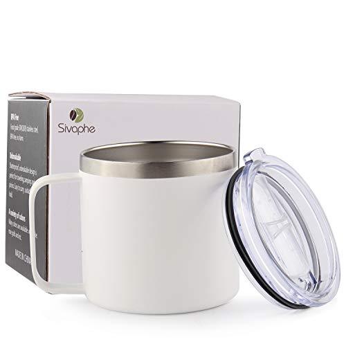 Sivaphe Becher isoliert, Teetasse 400ML, Edelstahl Doppelwandig Vakuum Kaffeebecher mit Griff und Deckel für Zuhause, Büro, Reise Weiß