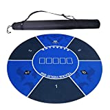 chillyday Poker Table Pad, Durable Comfortable and Anti-Slip Texas Holdem Chips Rubber Pad Tablecloth with Shoulder Bags, Card Game Accessories