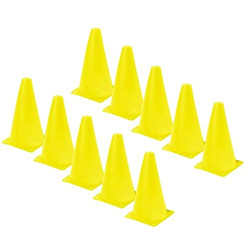 Training Cones - Set of 12 Yellow 9 INCH Highly Durable Vinyl Cones, by Playscene0153;