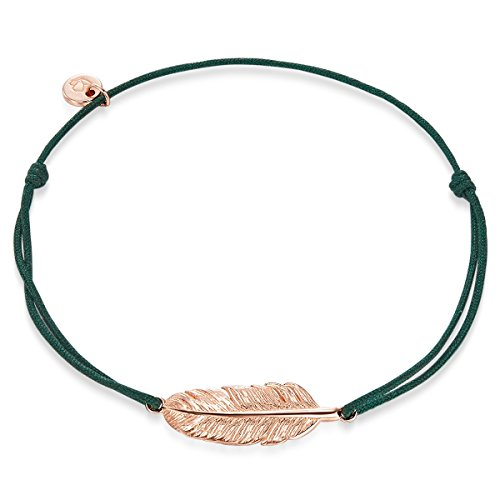 Glanzstücke München Damen-Armband Feder Sterling Silber rosévergoldet 14-25 cm - Stoffarmband mit Feder-Anhänger Rosegold Armändchen Stoff Armband mit Zugverschluss