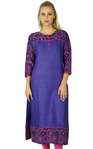 Bimba Frauen Baumwolle lila Kurta Kurti ethnischen Ikat Print indische 3/4 Ärmel Top Tuni
