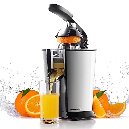 Homeleader Exprimidor eléctrico de cítricos, exprimidor naranja con mango humanizado, potente motor silencioso de 160 W, sin BPA, dos