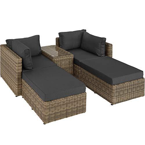 TecTake 800694 Aluminium Polyrattan Multifunktions Luxus Loungegruppe Gartensofa mit Tisch, für Garten oder Terrasse, vielseitig kombinierbar, inkl. Polster - Diverse Farben (Natur | Nr. 403168)