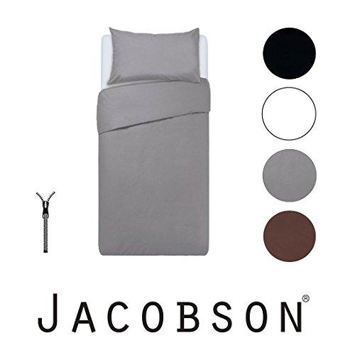 Jacobson Bettwäsche Set 100% Baumwolle Renforce Bettbezug Kissenbezug mit RV (135x200 cm 4-teilig, Schwarz)