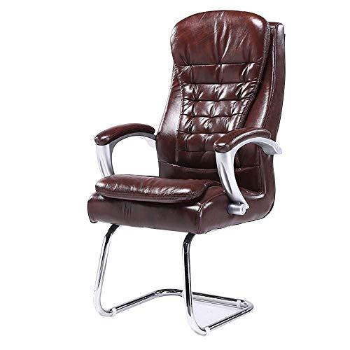 WSDSX Chair Computer Chair High-back PU Leather Office Chiar Bow Foot Ergonomic Computer Desk Chair Built-in Spring Pack Bearing Capacity: 360lbs,Coffee