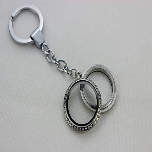 N/ A XYNNFW Runde schwimmende Medaillon-Schlüsselanhänger mit Edelstahlschraube und schwimmendem Medaillon-Schlüsselanhänger aus Strass