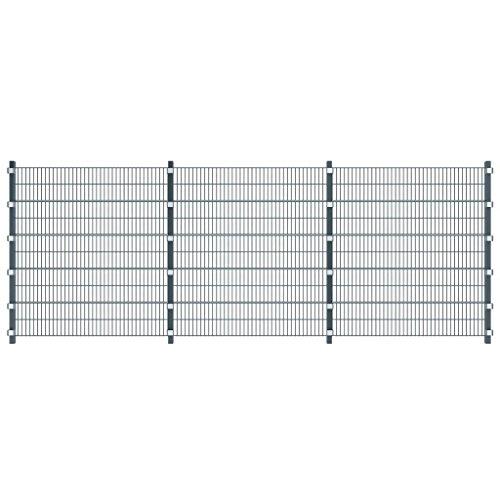 fzyhfa Set 3 Panneaux de clôture 6 m gris anthracite avec poteaux hauteur 2 m design beau, robuste et fiable également résistant Clôture Jardin Panneau clôture