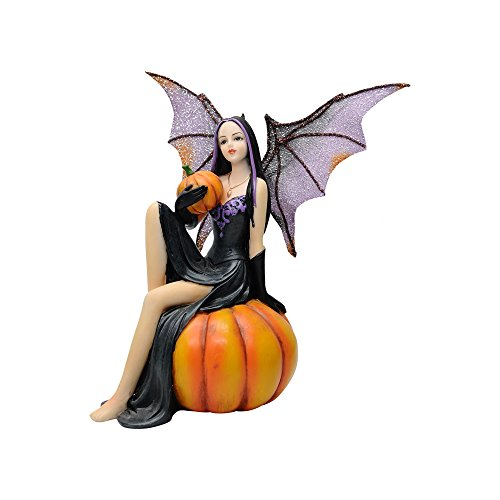 """Comfy Hour Fairyland Collection 6"""" Dark Fairy Witch Holding A Pumpkin Sits On Pumpkin, Polyresin Figurine, Halloween Theme Gift, Home Decoration and Collectibles"""