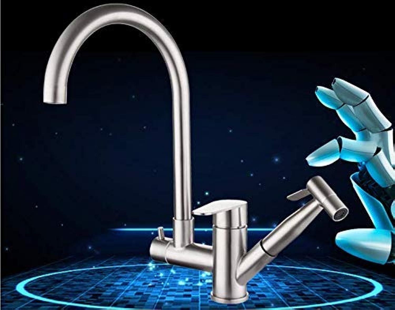 Edelstahl-Multifunktions-Küchenarmatur Pull-Type Hot und Cold Sink Sink Teleskop-Wasserhahn
