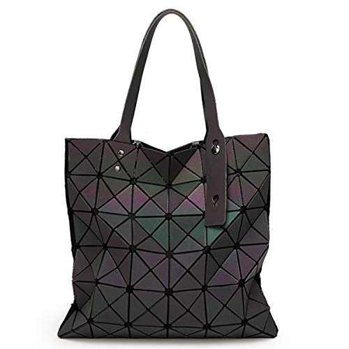 Damen rhombische Umhängetasche Rubik's Würfel geometrische Handtasche leuchtenden Farbverlauf Damentasche Falten Wechselpaket (Leuchtendes Grün,33cm*33cm)