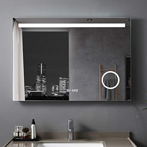 LISA 100 x 70 cm LED Badspiegel Beleuchtung Touchschalter IP44 Wandspiegel Antibeschlage Lichtspiegel mit Uhr und 3-Fach Vergrößerung
