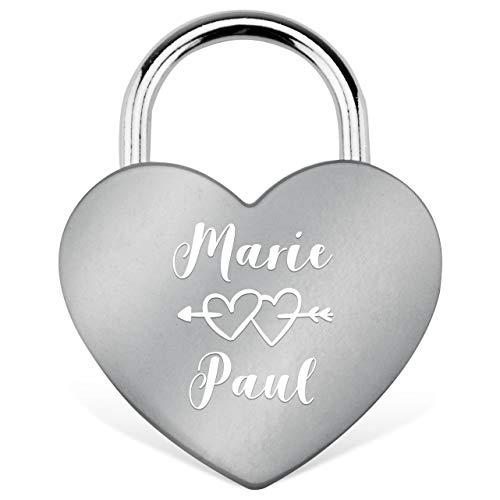 RM-Laser Liebesschloss Herzschloss in Silber mit Gravur und Schlüssel. Jetzt eine Liebes-Botschaft gestalten. Inkl. Kleiner Geschenkbox