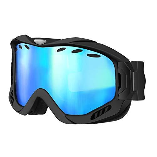 OMORC Maschera da Sci Unisex Protezione UV 400,Ochiali da Sci da Lente Staccabile a Doppio Strato,stema di Ventilazione Aggiornato per Sci Pattinaggio Motocross Paracadutismo