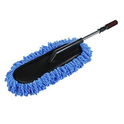 GIS Car Wash Cleaning Brush Duster Dust Wax Mop Microfiber Telescoping Dusting Tool with Adjustable Long Handle Blue (Color : Blue)