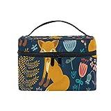 Alarge - Bolsa de maquillaje con diseño de zorro de dibujos animados, tamaño grande, organizador portátil de viaje para mujeres y niñas