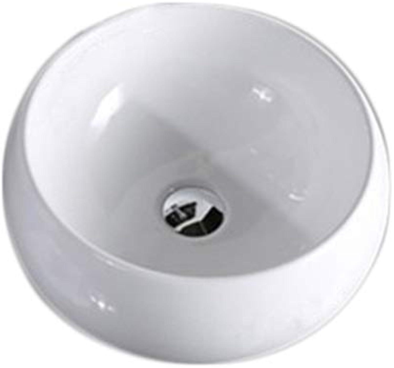 Wash Basin, Ceramics, White Round Mini Bathroom Above Counter Sink