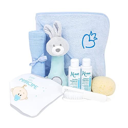 Mi Cariño Mabybox – Box de regalos para bebés, Toalla de recién nacido bordada con corazón y sonajero peluche de conejito. – Tu regalo para Recién Nacido. (Azul)