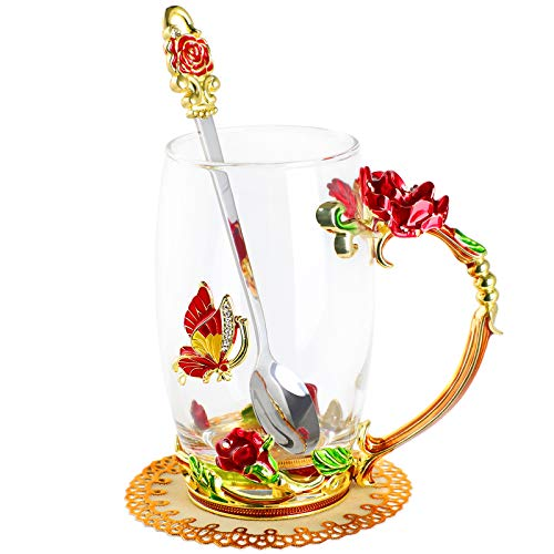WD&CD Rose Butterfly Glass Tea Coffee Cups Mugs with Spoon and Coaster, Gifts for Her Girlfriend Wife Mum Women on Valentine's Day Mother's Day Christmas, Red Tall