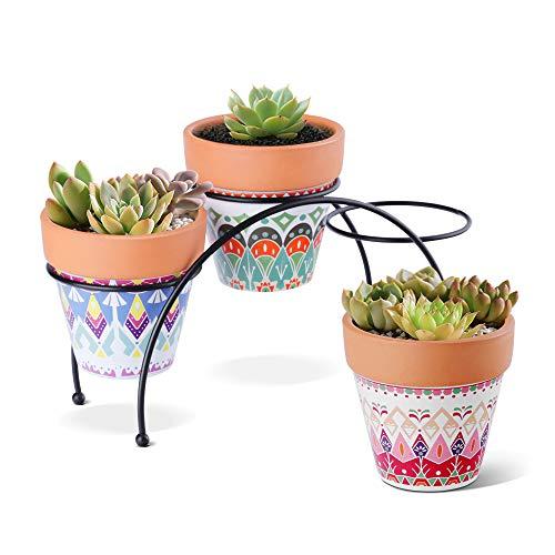 T4U 9cm Ethno Terrakotta Sukkulenten Topf mit Ständer 3er-Set, Klein Mini Blumentopf Übertopf für Zimmerpflanzen Kakteen Moos Innenbereich